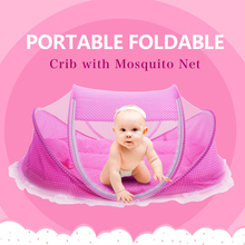 Foldable New Baby Crib 0-3 Years Baby Bed With Pillow Mat Set Portable Folding Crib With Netting Newborn Sleep Travel Bed Newest(China (Mainland))