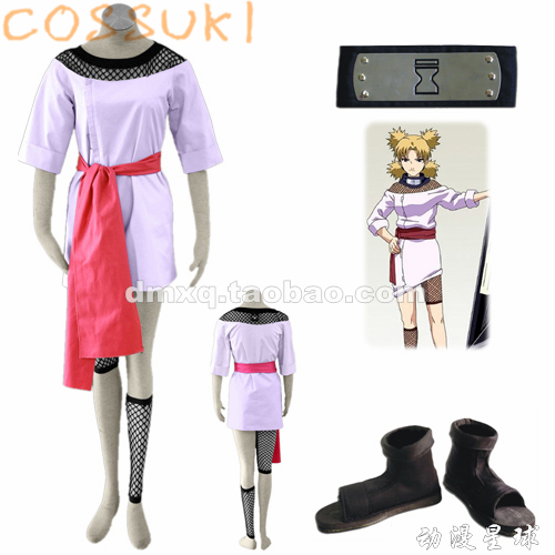 Free Shipping! Newest! Stock! Naruto Temari Childhood Full Set Cosplay Costume Suits ,Perfect Custom For you!(China (Mainland))