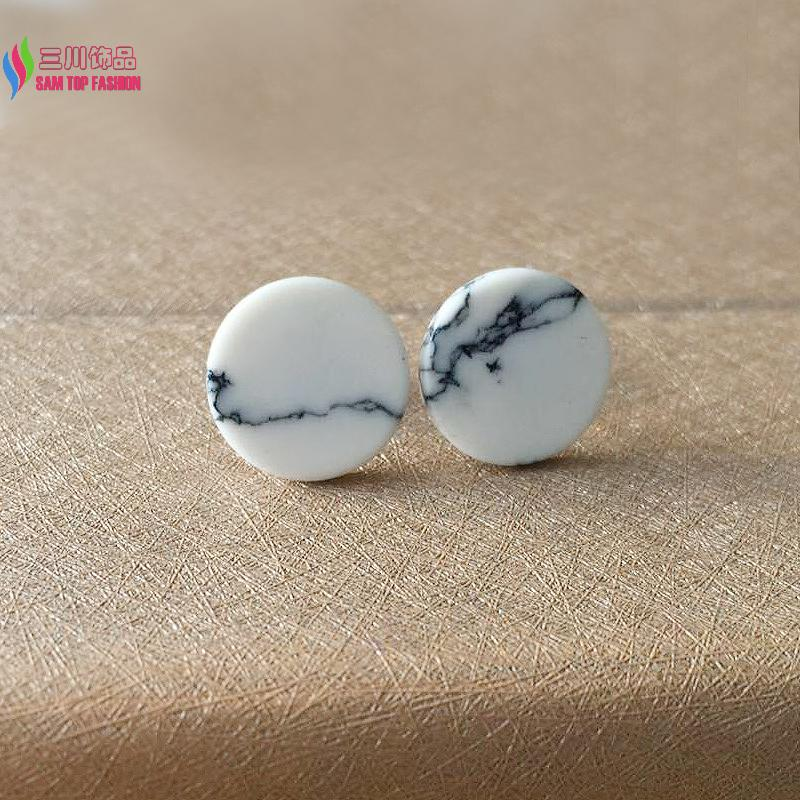 wholesale gifts jewelry fashion designer Synthetic white stone turquoise round ear stud earrings for women bijoux brincos(China (Mainland))