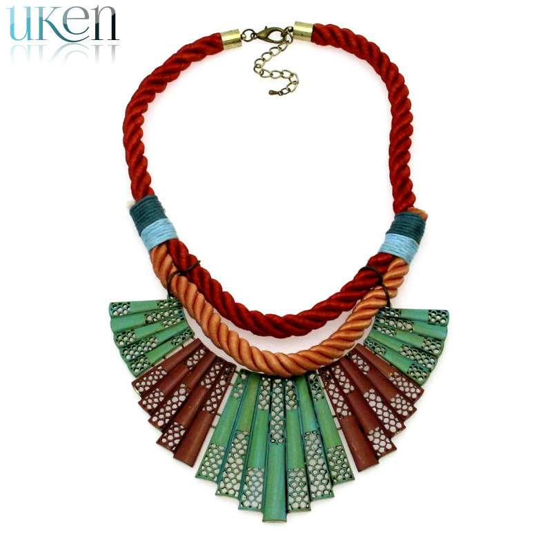 Fashion Necklaces Women 2015 Red Rope Chains Knitting Multicolor Paint Metal Choker & Pendants Jewelry - UKen store