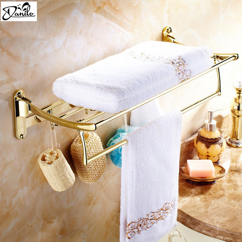 Gilded Finishes Bathroom Towel Shelf Wall Mount Bathroom Accessries Double Tiers Folding and hook up Towel Bar Brass towel rac(China (Mainland))
