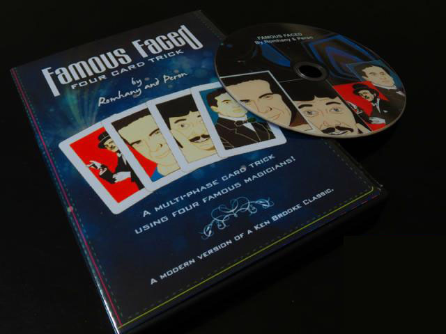 Famous Faced - Four Card Trick (gimmicks + DVD),card magic,Fire magic Magic trick classic toys(China (Mainland))