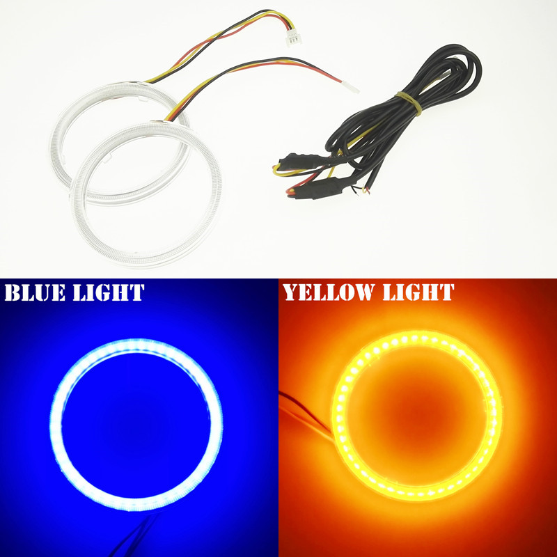 NEW 2X70mm Angel Eye Car COB LED Chip Bule With Yellow Turn Signal Waterproof DRL Headlight With Lampshades Car External Lights(China (Mainland))