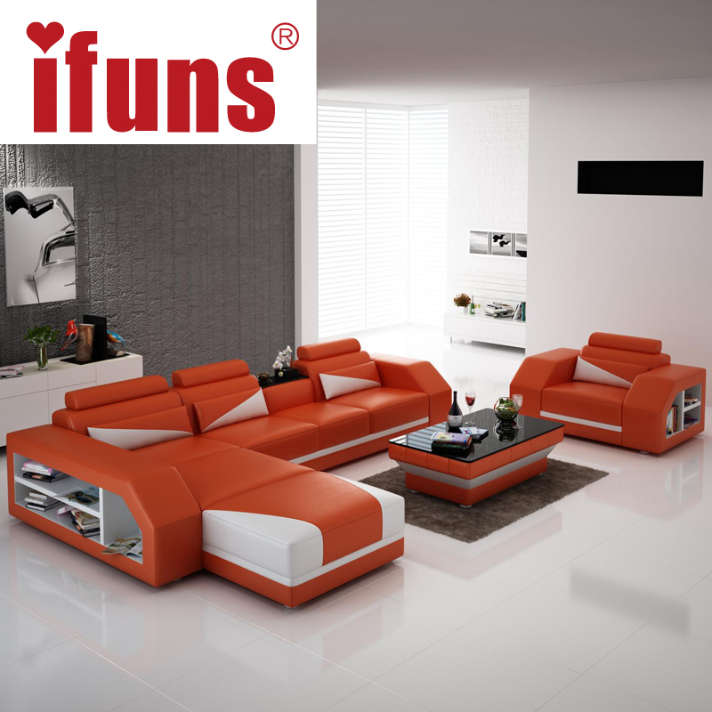 IFUNS american modern design genuine leather L shaped corner sofa/recliner brown color sectional sofa set living room furniture(China (Mainland))