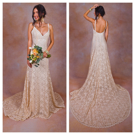 Lace backless wedding dress plunge scallop front low for Simple ivory lace wedding dress