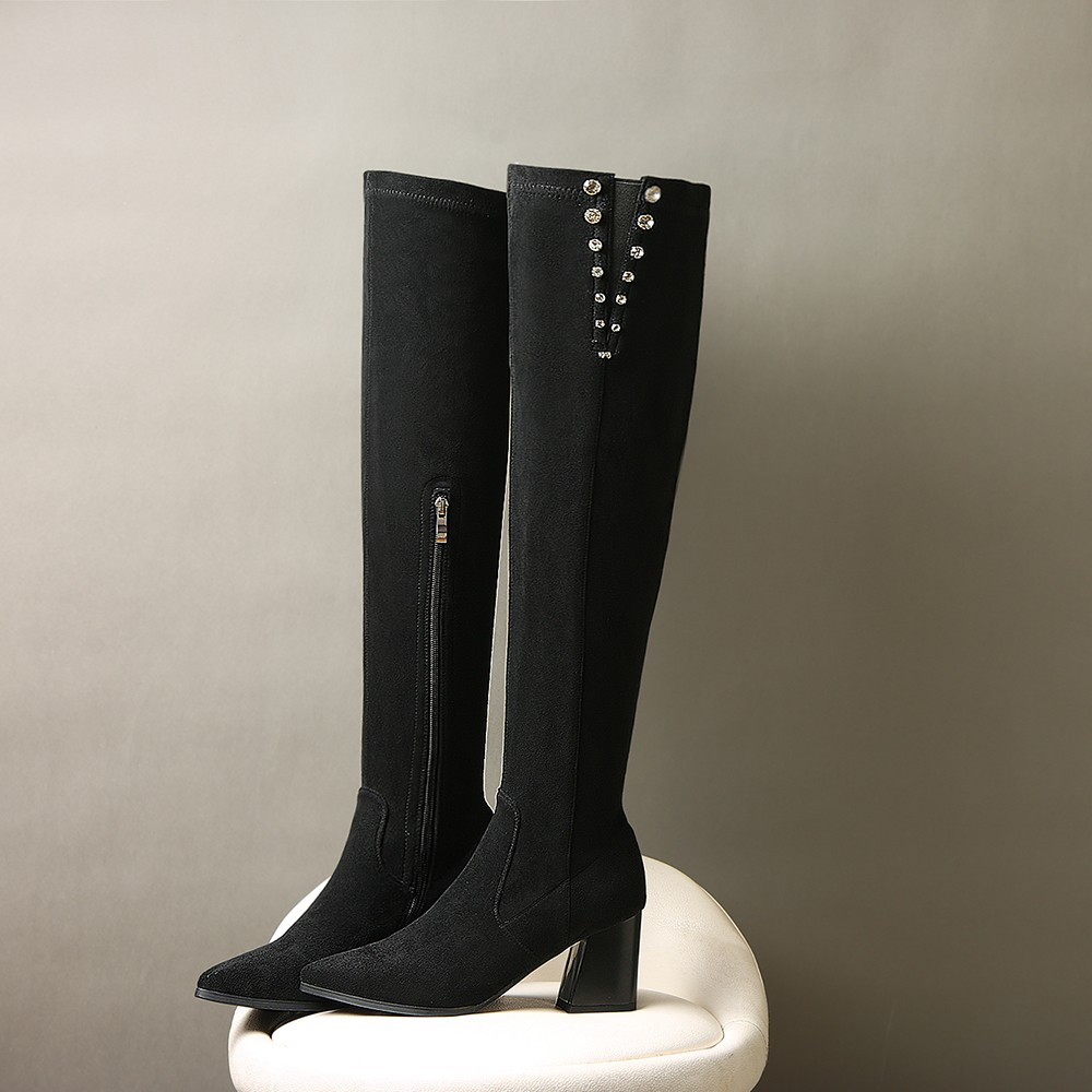 Women's 7cm Thick High Heel Pointed Toe Over The Knee Boots Real Suede Leather Brand Design Rhinestones Winter Long Boots Shoes