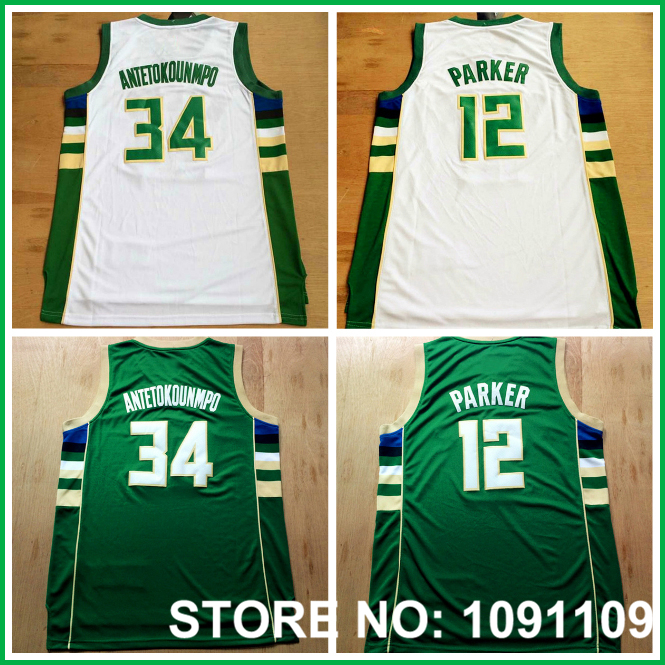 Гаджет  Milwaukee 34 Giannis Antetokounmpo Jersey, 12 Jabari Parker Jersey, White and Green Stitched Basketball Jersey, Free Shipping None Спорт и развлечения