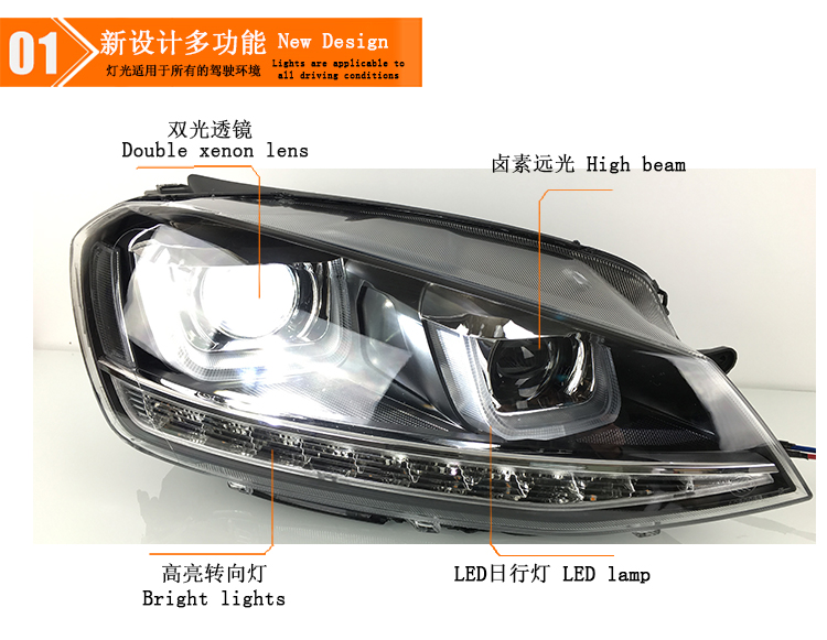 Auto Clud Style LED Head Lamp for VW Golf 7 GTI R20 led headlights golf7 angel eye led drl H7 hid Bi-Xenon Lens low beam