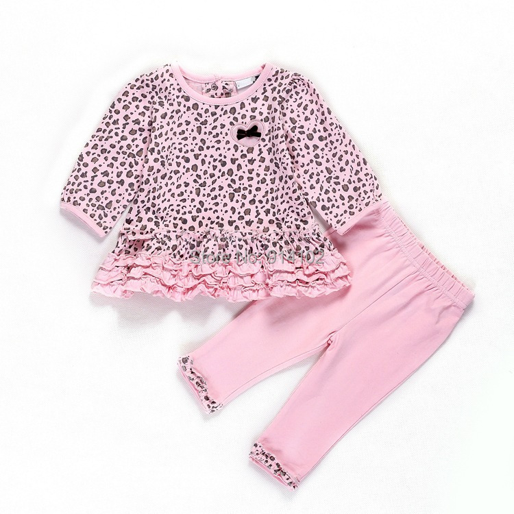 Retail Leopard Gilrs Spring/Autumn 2pcs suit Dress+Pants Infant Leisure Fashion clothing sets Baby casual dress Drop shipping(China (Mainland))