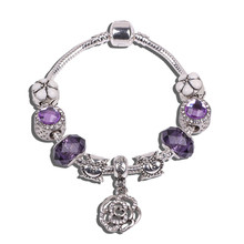 Antique Silver Purple Roses Charm Bangle & 18 years old Fit Pandora Bracelet with Crystal Ball Women Wedding Valentine's Day(China (Mainland))