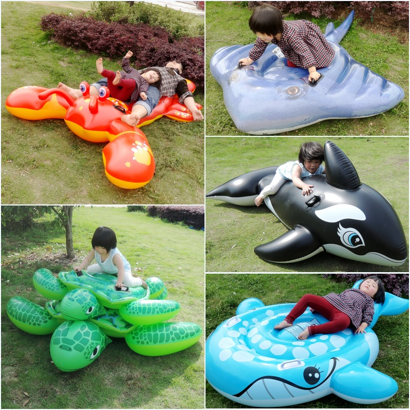 Inflatable water horse seat type handle turtle motorboat with a water gun toys for children swimming(China (Mainland))