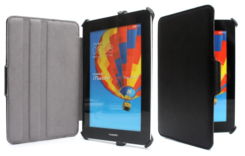 Slim Multiple-angle Heat Setting Stand PU Leather Skin Tablet Protective Cover Case For Huawei Mediapad 7 Youth2 Youth 2 S7-721u(China (Mainland))