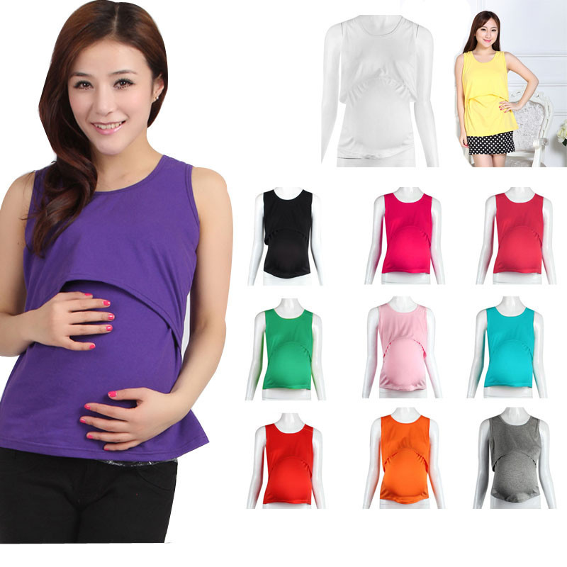 Hot Selling Solid Pregnant Maternity Clothes Nursing Tops
