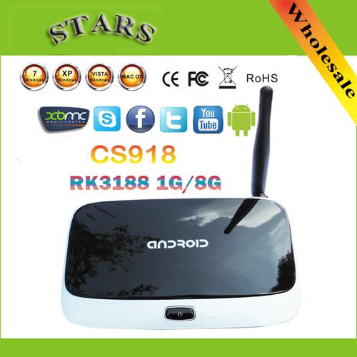 android 4.4.2 tv set top box Q7 CS918 Full HD 1080P RK3188T Quad Core Media Player 1GB/8GB XBMC Wifi Antenna with Remote Control(China (Mainland))