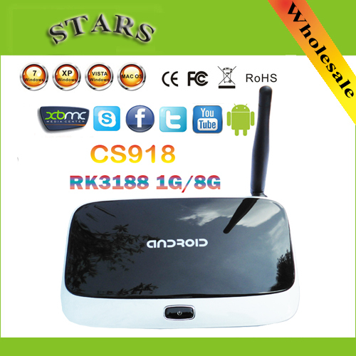 android 4.4.2 tv set top box Q7 CS918 Full HD 1080P RK3188T Quad Core Media Player 1GB/8GB XBMC Wifi Antenna with Remote Control(China (Mainland))