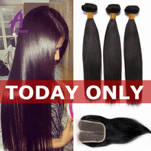 8A indian straight hair with closure  raw indian hair weave 3 bundles with closure best virgin human hair bundles with closure(China (Mainland))