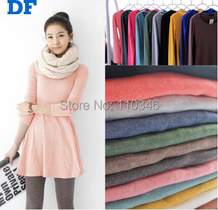 Women Winter Cotton Dress Vestidos 2014 New Women Long Sleeve Woolen Warm Autumn Render Dresses Plus Size Casual Cute Dress 957(China (Mainland))