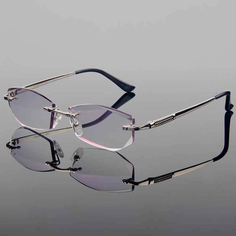 New Graceful Luxury Titanium Alloy Optical Frame Unisex Style Diamond Trimming Cut Rimless Spectacles With Gradient Tint LensesОдежда и ак�е��уары<br><br><br>Aliexpress
