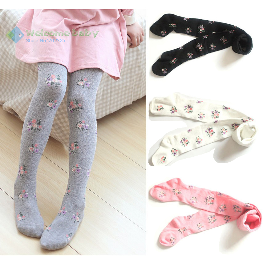 Spring/Autumn Kids Tights Cotton Baby Girl Children Pantyhose Stockings for girls middle child Panty Hose meias infantil floral(China (Mainland))