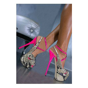 Hot Pink 16CM Sexy Women Pumps,Plus Size 34-42 Brand Designer Snakeskin High Heels,Platform Dress Pumps Genuine Leather(China (Mainland))