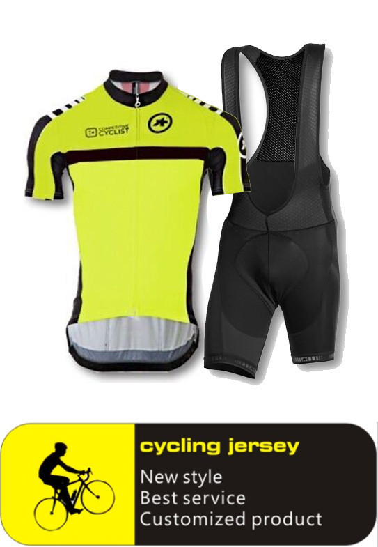 2015 new men's yellow jersey Summer sports cycling clothes short sleeve shirt + pants suit breathable jersey gel pad(China (Mainland))