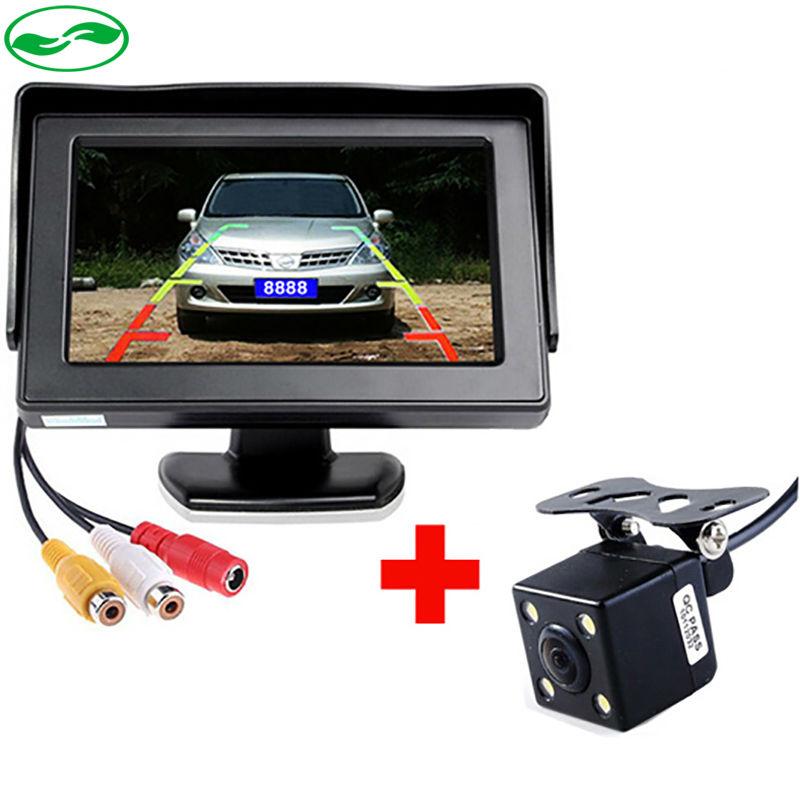 Free Shipping, LED Night Vision Car Rearview Reversing Camera Parking Backup Monitor System + 4.3 inch Color LCD Car Monitor(China (Mainland))