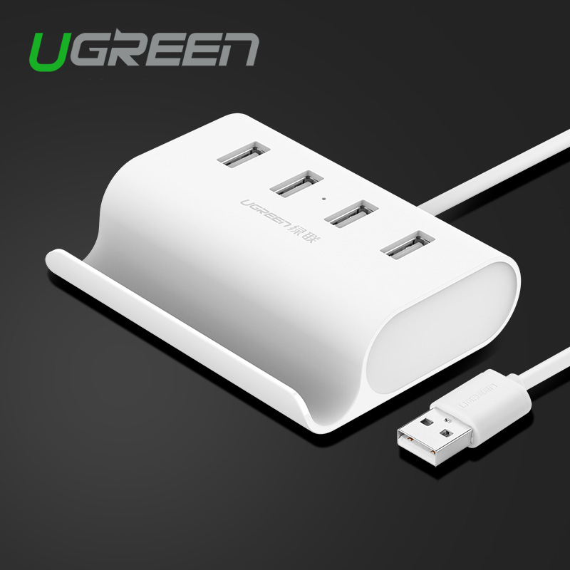 Ugreen USB 2.0 4 Port HUB Splitter adapter with micro usb power stand in white 50cm for notebook computer laptop PC(China (Mainland))