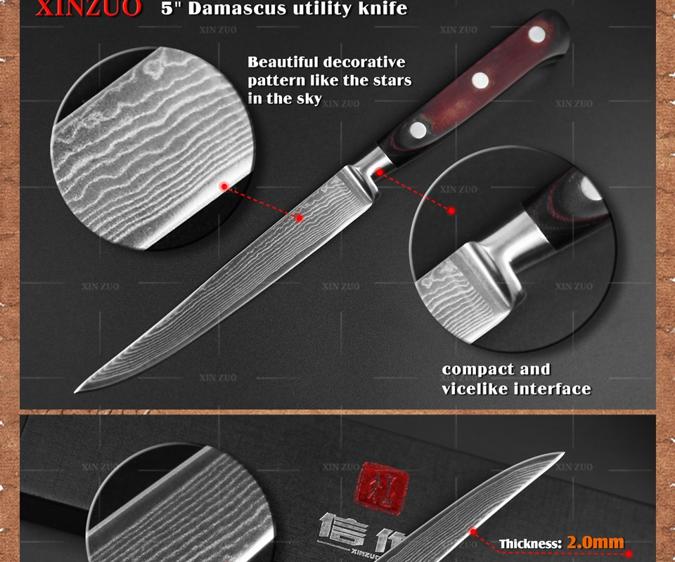 "Buy 2016 xinzuo HIGH QUALITY 5"" inch uitility knife Damascus kitchen knife VG10 Utility/Universal knife Micarta handle FREE SHIPPING cheap"