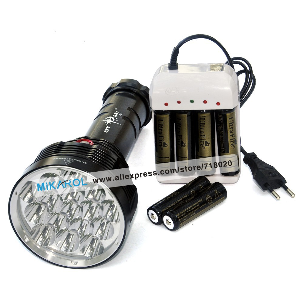 Cave Exploration Treasure, 15000 Lumens Super Power LED Lantern Flashlight, One Button Light Control LED Torch Rechargeable(China (Mainland))