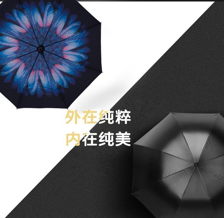 Creative Folding Umbrella Rain Women Men Umbrella Three folded ...