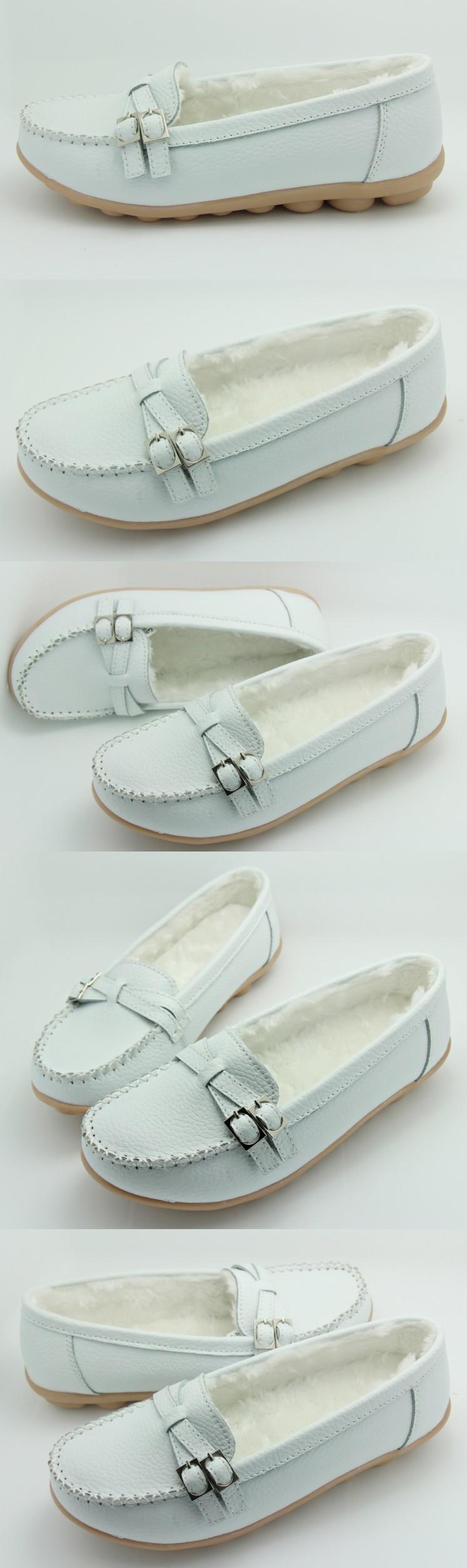 ซื้อ ใหม่ผู้หญิงฤดูหนาวตุ๊กตาแบนรองเท้าหนังแท้S Apatos Femininosแม่รองเท้าหนังนิ่มสบายC Omfortรองเท้าขับรถ, 227-1