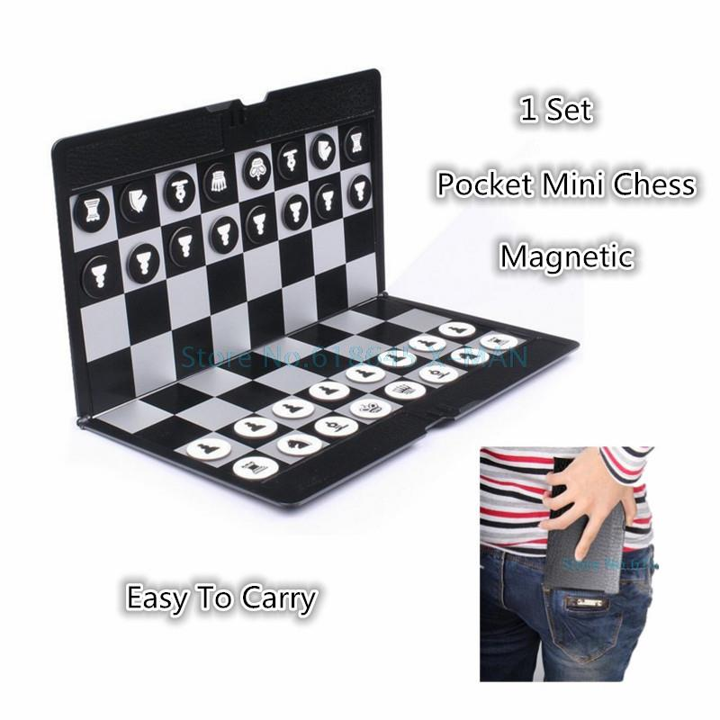 Pocket Mini Chess Set Board Magnetic Portable Checkers Set Traveler Plane Easy To Carry Family Game L347(China (Mainland))
