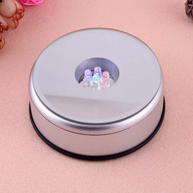 Unique Small Round Rotating Crystal Jewelry Display Base Stand Holder 5 LED Light #12609(China (Mainland))