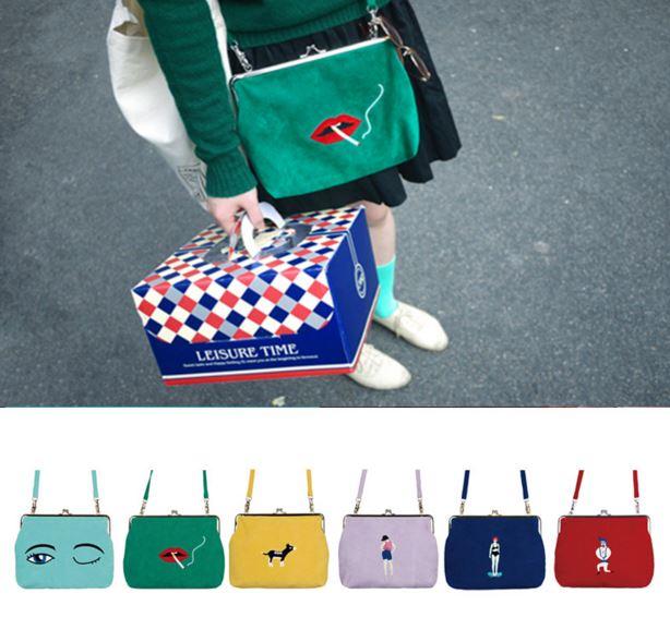 2016 Fresh YIZI girl character velvet cartoon Embroidery crossbody bag women fashion handbag shopping street shoulder bag(China (Mainland))