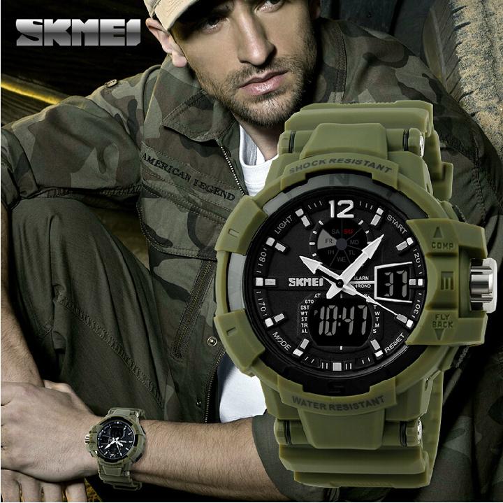 Skmei Brand Men's Mutifunction Sports Military Digital analog Led Watches Swimming Waterproof 2014 New Army boy Wristwatches(China (Mainland))