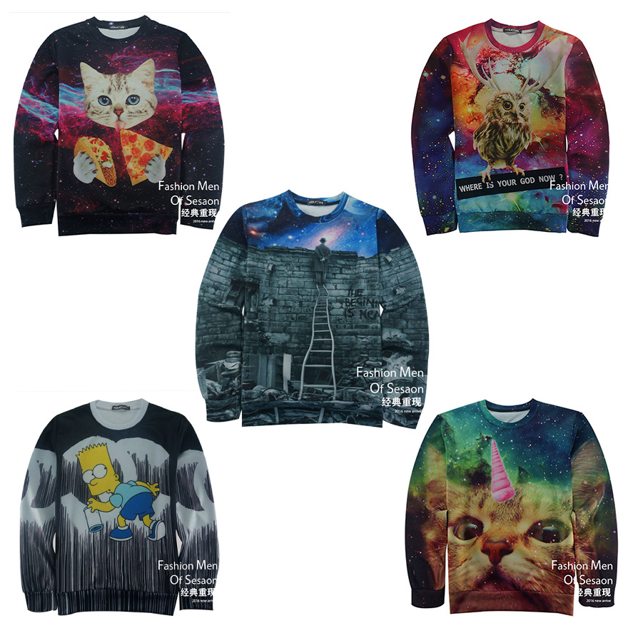 High-quality baseball clothing sweater boy 3D three-dimensional printing tide brand youth printing hip-hop jersey 12-18 years(China (Mainland))