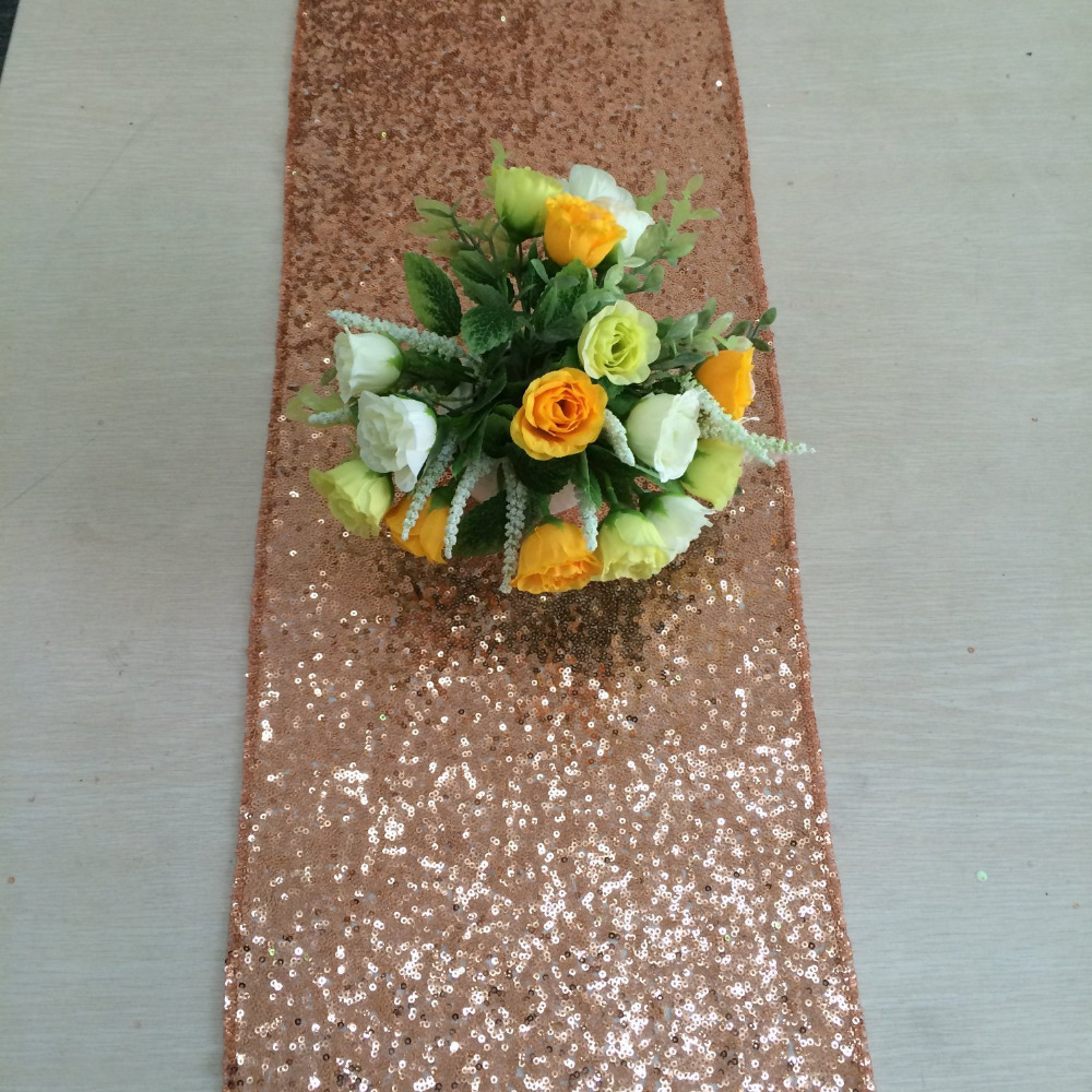 "Rose Gold Sequin Table Runner 12"" x 108"" Sequin TableCloth Wholesale Sequin Table Cloths(China (Mainland))"