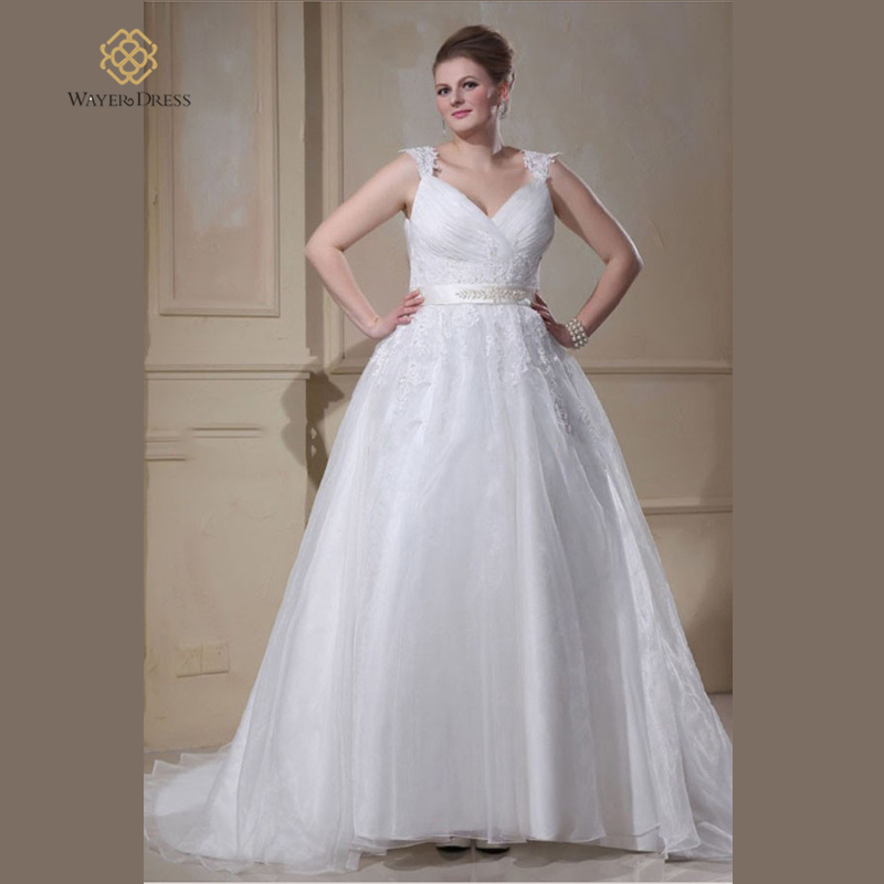 Gorgeous plus size a line wedding dresses lace appliqued for Plus size beaded wedding dresses