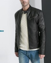 Free shipping Genuine new styles Slim-type collar male brand leather jacket casual leather ,BLACK,M-XXL