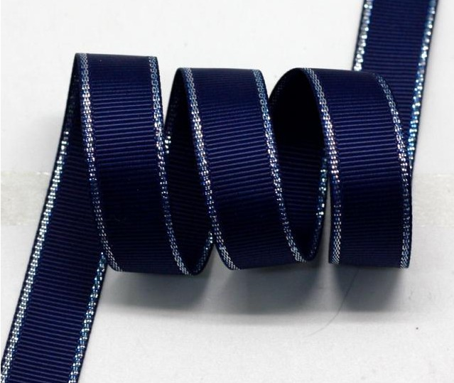 """1"""" 25mm Polyester Silver Metallic Edge Grosgrain Ribbon Wired Ribbons With Metallic Edge DIY Accessories 100yards/color(China (Mainland))"""