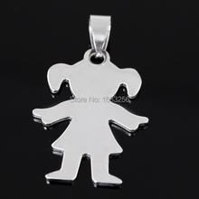 Choose Size in bulk Jewelry  Lot 5pcs Cute Baby Girls  Charms Pendant stainless steel Without Chain For Gifts(China (Mainland))