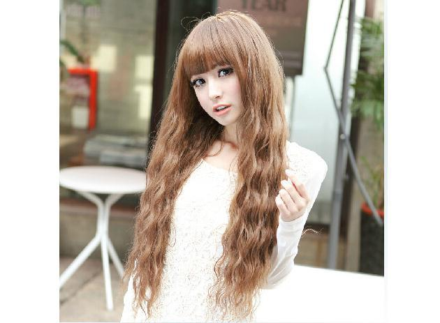 New fashion beautiful woman fluffy hair wig corn hot good quality synthetic fiber Black/Dark Brown/Light Brown(China (Mainland))