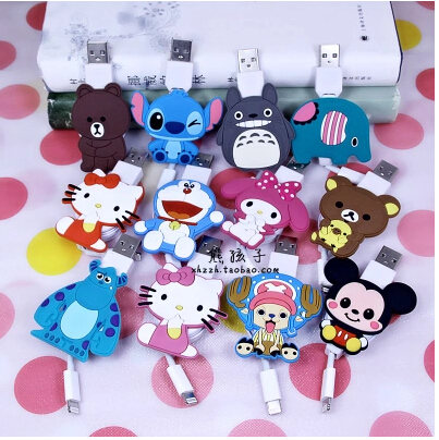 Kawaii Cartoon LED data line for iphone universal charger data cable for iphone 5 6 6plus cartoon cute E346(China (Mainland))