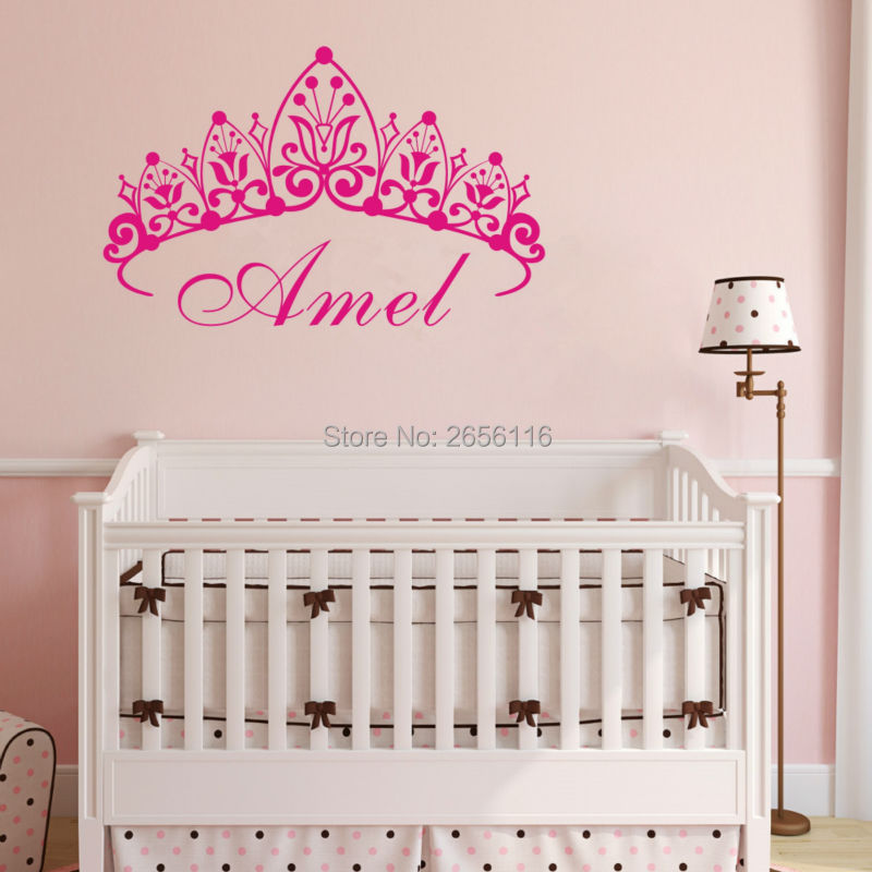 Personalized Girls Name Princess Crown Art Carving Cute Wall Decal Removable Vinyl Sticker for Girls Room Decoration(China (Mainland))