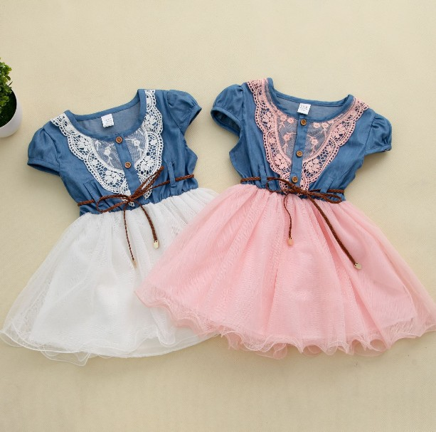 New 2016 Girl Summer Denim Dress for kids Jeans Tutu Dresses Cute Beautiful with belt Children Dresses(China (Mainland))