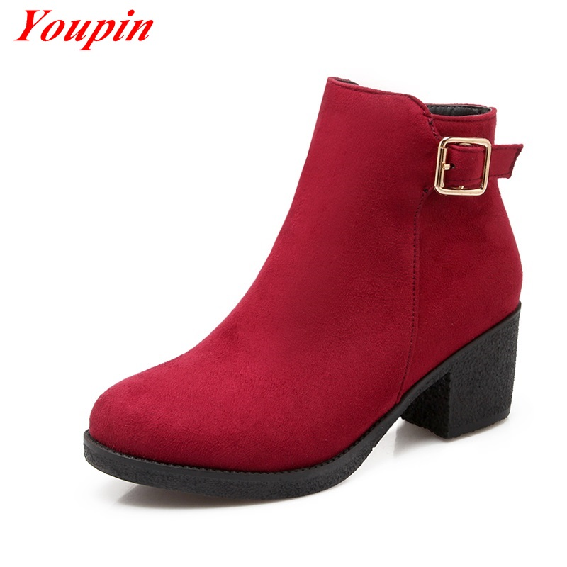 Woman ankle boots Duantong 2015 Black autumn winter Red woman shoes Belt buckle ankle boots Duantong Metal decoration Zipper<br><br>Aliexpress