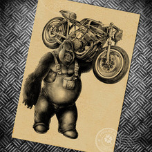 Gorilla motorcycle Vintage poster ROUTE 66 retro wall art painting bar cafe print picture home decoration sign wall sticker(China (Mainland))