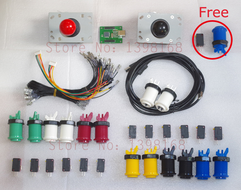 Arcade mame DIY KIT for 2 players PC PS/3 2 IN 1 to arcade joystck button interface USB 2 player MAME Interface USB to Jamma(China (Mainland))