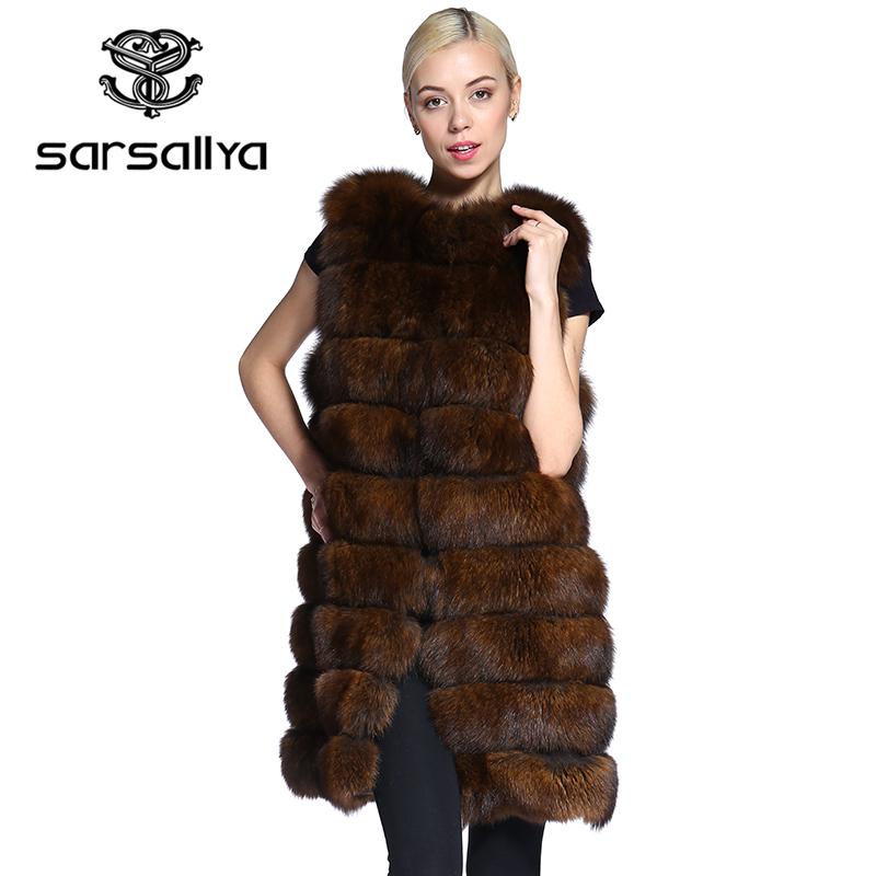 SARSALLYA real fur vest New style spring fall women's long real fox fur vest blue fox fur jacket natural fox fur waist coat(China (Mainland))