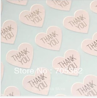 THANK YOU heart design Sticker Labels Seals.3.8cm, Gift stickers for Wedding seals,300pcs/lot (SS-7132)(China (Mainland))